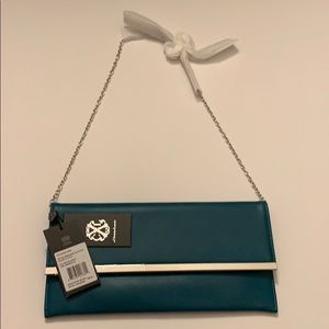 Teal Christian Lacroix chain link clutch!